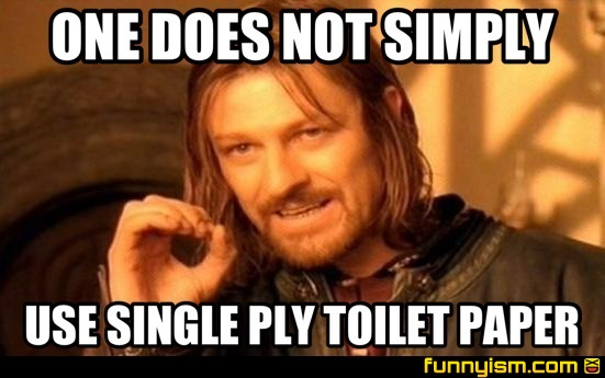 ONE DOES NOT SIMPLY USE SINGLE PLY TOILET PAPER | Meme Factory ...